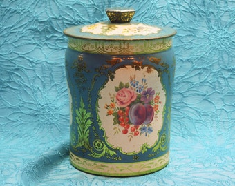 Pretty blue and gold vintage flower tin with Tinker Toys!