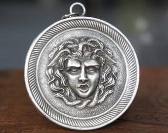 Solid Silver Fierce Medusa Gorgon Medallion Neckalce