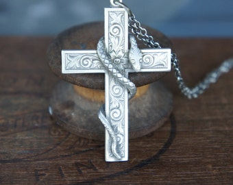 Ornate Cross with Snake Silver Necklace