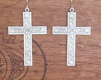 Solid Silver Floral Victorian Style Cross Earrings