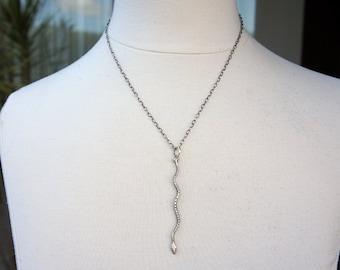 Vintage Slithering Snake Serpent Pendant Silver Necklace