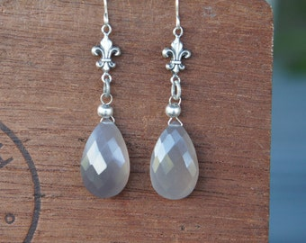 Grey Chalcedony Briolette Earrings With French Fleur de Lys - Ready to Ship