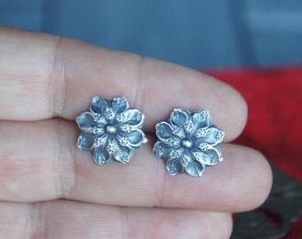 Handmade Silver Antique Ornate Flower Post Stud Earrings for Pierced Ears
