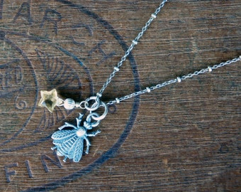 Sterling Silver Antique French Style Bee and Citrine Necklace
