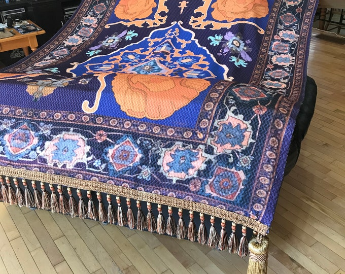 Aladdin's Magic Carpet custom printed throw rug with hand made tassels & trim