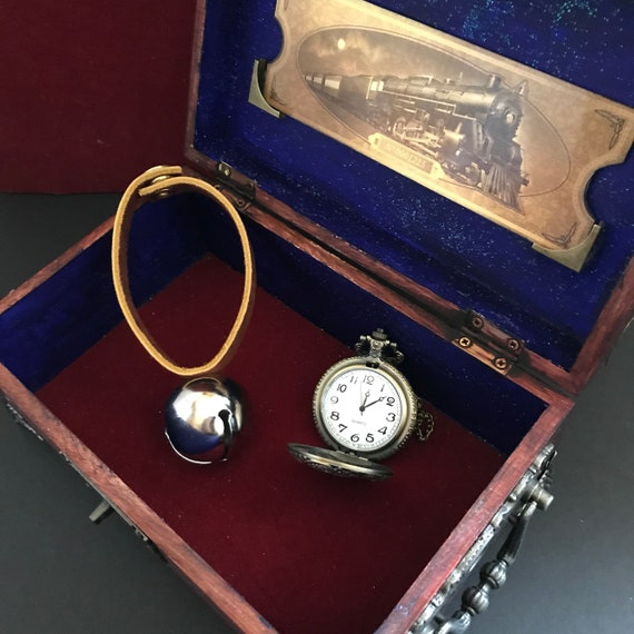 Polar Express Inspired gift set - handmade wooden Christmas box with printed train ticket & vintage watch