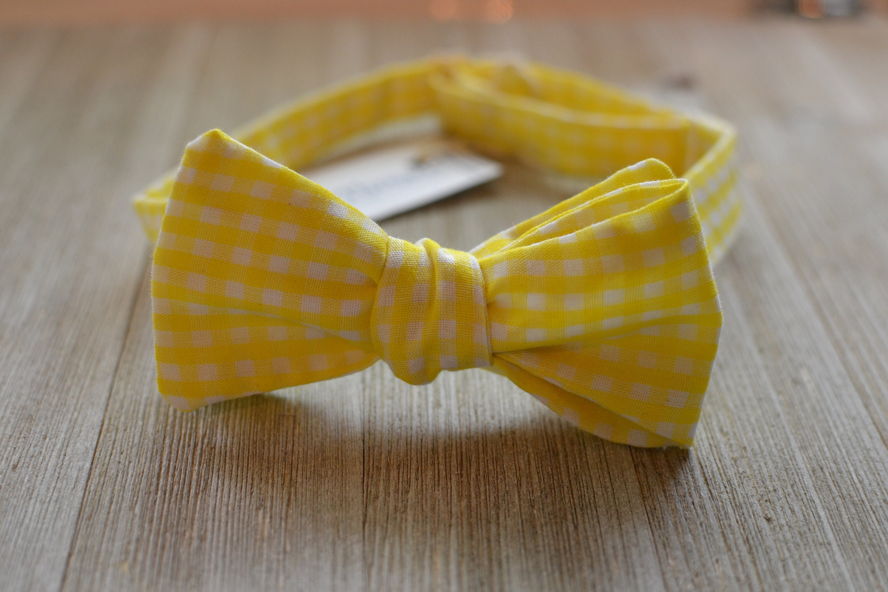 Handmade Yellow Gingham Pre-tied Clip on Bow Tie for Baby//Toddler