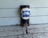 Vintage Porcelain and Cast Iron Blue Delft Holland Windmill Wall Mount Coffee Grinder From Holland Wooden Hand Crank