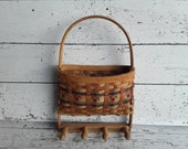 Wicker Wall Basket Vintage Wicker Planter With 4 Pegs Vintage Apple Kitchen Decor Farmhouse Apple Decor