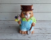 Spring Easter Tulip Bunny Rabbit Cookie Jar Young 39 s China Ceramic Hand Painted
