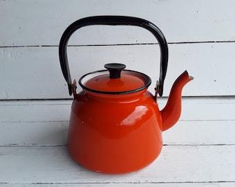 boho home decor metal teapot mid century modern tea kettle cast aluminum Vintage tea kettle ombre burnt orange