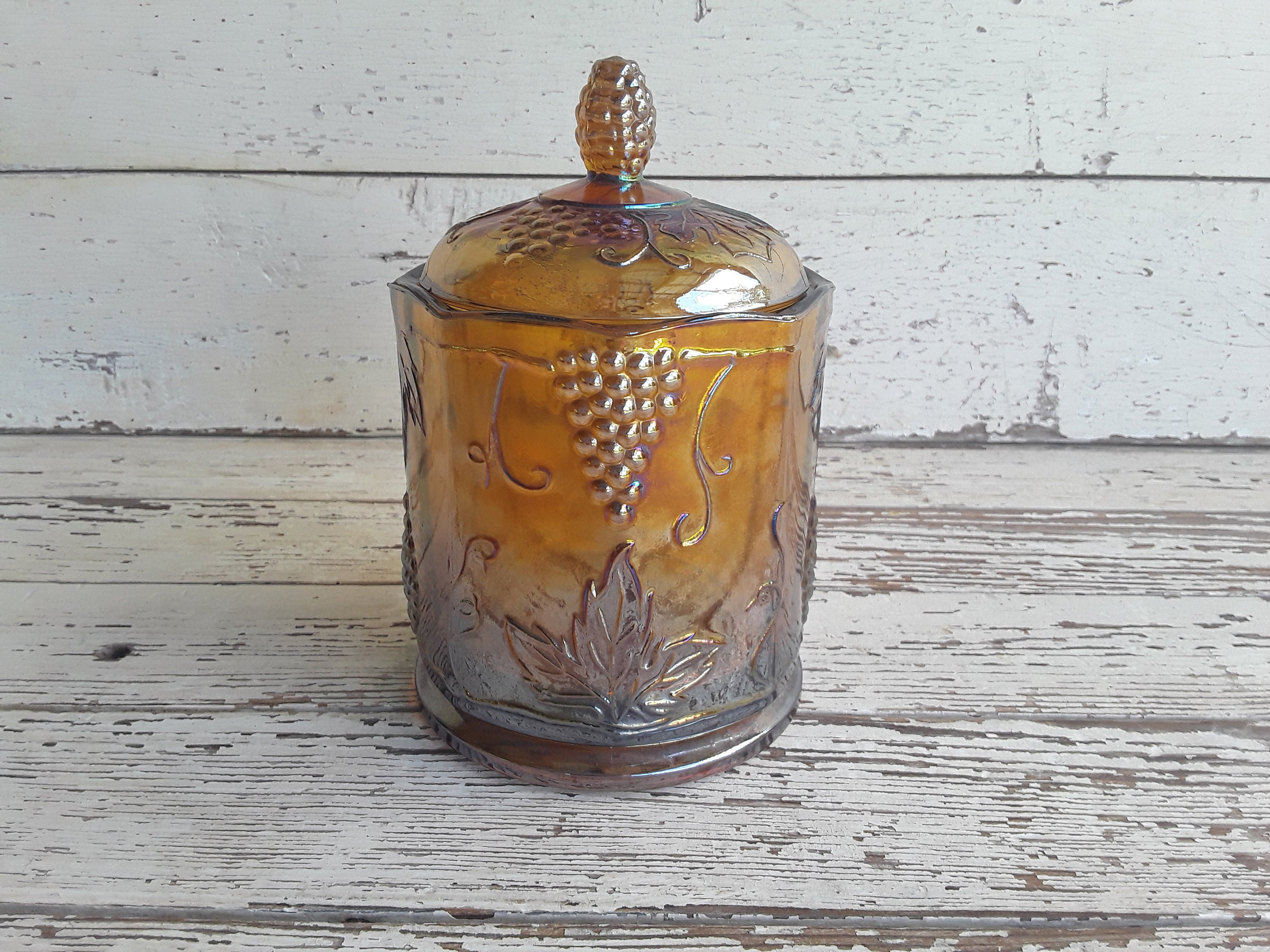 Indiana Carnival Glass Canister Candy Dish Amber Grape Leaves Harvest 21