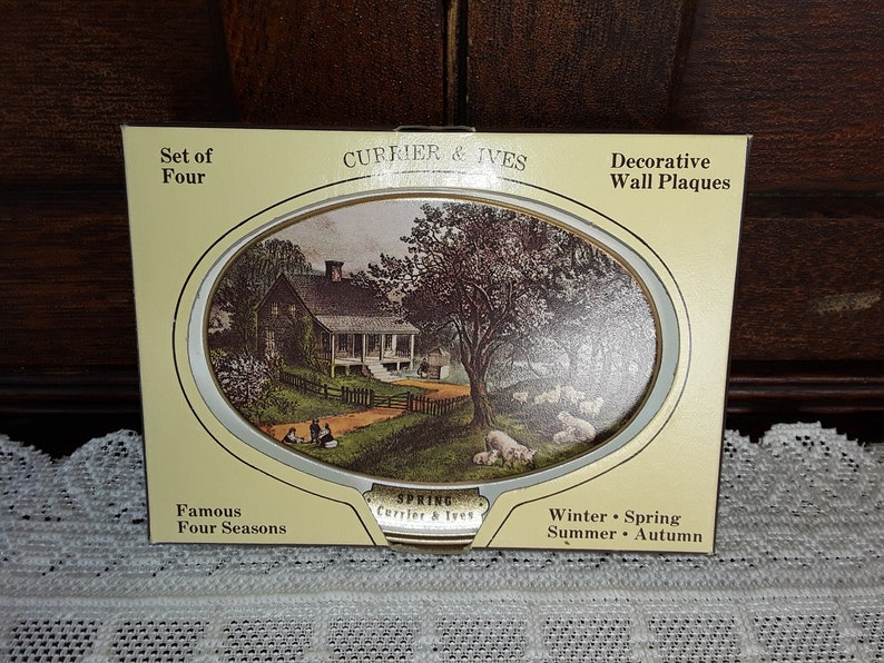 84a5518b8c51 Vintage Currier   Ives Set Of 4 Wall Plaques NOS