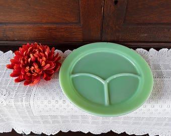 Jadeite Green Grill Plate' - Fire-King Logo  - Multi-tasking Serving Plate - Three Slot Plate