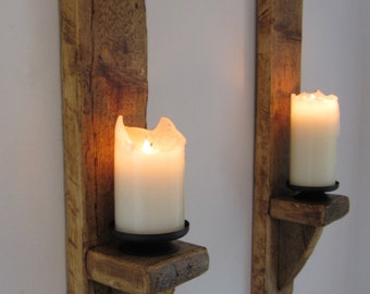 wall sconces with candles design interior pair of large 60cm reclaimed plank wood wall sconce candle holders candle sconces etsy