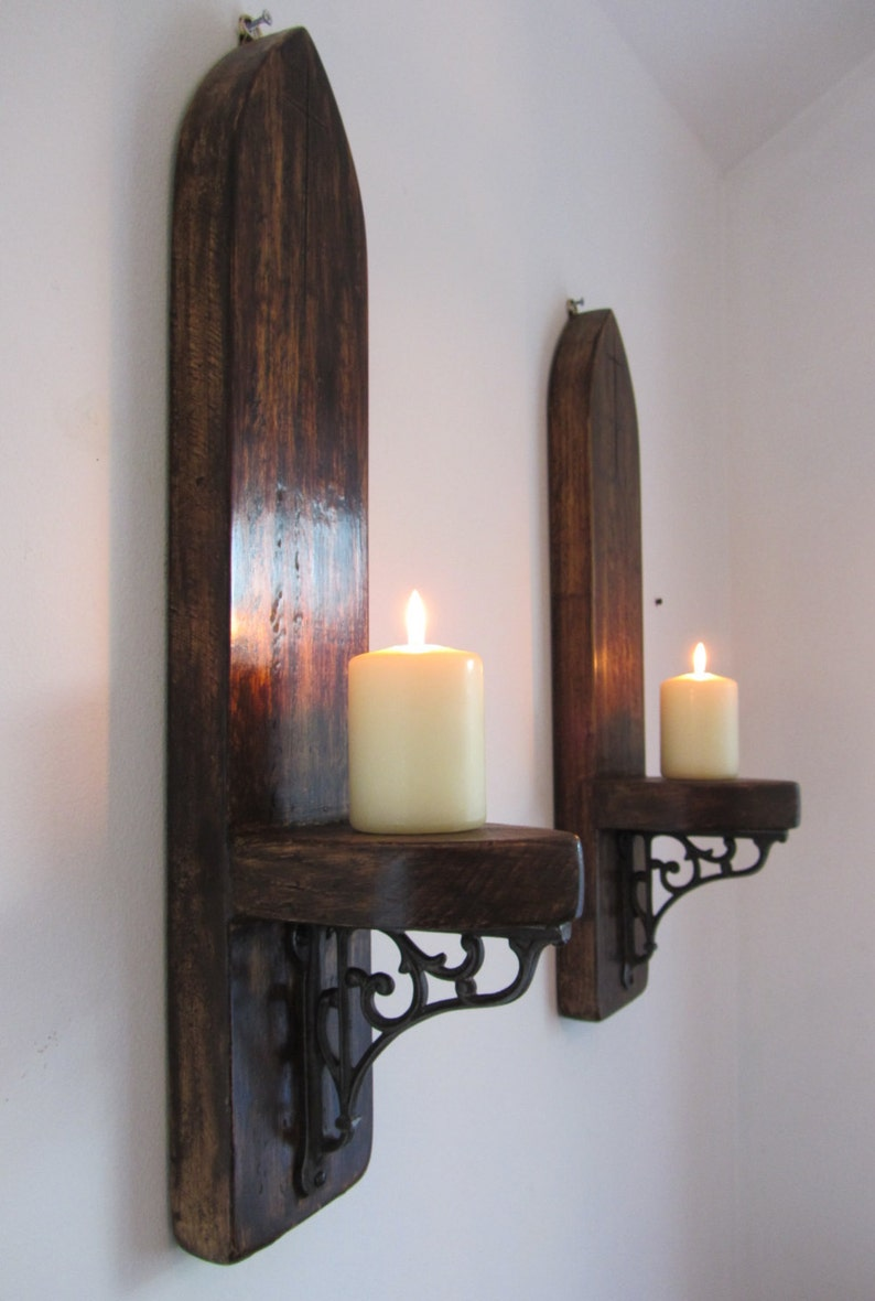 53CM RUSTIC SOLID WOOD ANTIQUE WAX GOTHIC ARCH WALL SCONCE CANDLE HOLDER