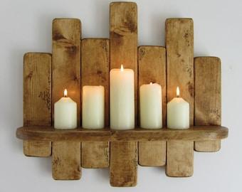 50 cm Rustic reclaimed pallet wood floating shelf , kitchen shelf / bathroom shelf