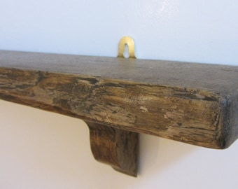 Rustic Reclaimed Plank Wood Shelf with Antique Brown Natural Beeswax