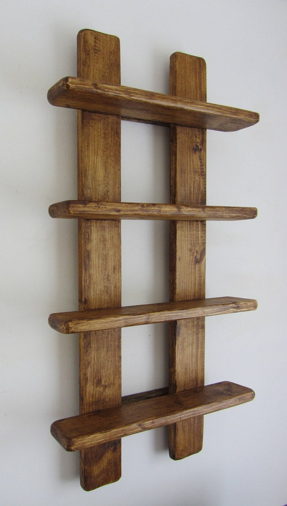 new product 96435 81d6a 75cm tall Shabby Chic rustic reclaimed wood 4 tier floating shelf / trinket  shelves / display shelves / spice rack