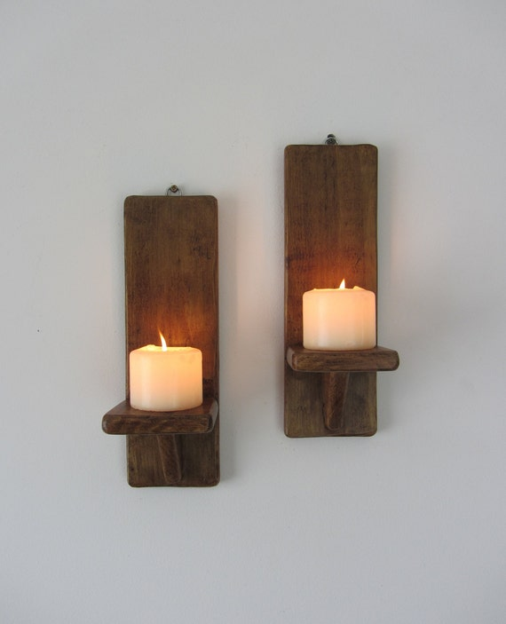 Pair of  30cm tall rustic wood wall sconce Led candle holders