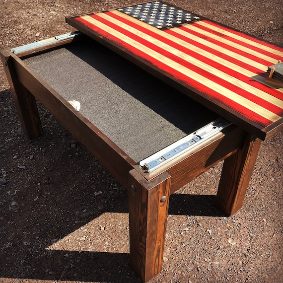 Hidden Gun Storage Rustic American Flag Coffee Table Rustic Etsy