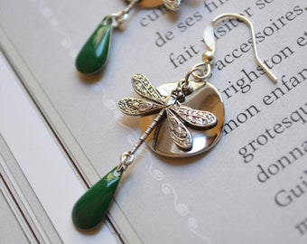 Silver and green Dragonfly earrings