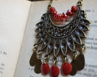 """Necklace """"Gipsy"""" bronze color, sequins and beads"""
