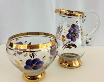 Cream and Sugar Service Handpainted Pansies with Gold Trim Glass Cream and Sugar Set