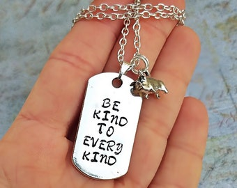 Be kind to every kind dog tag necklace, vegan necklace, Vegan Accessories, Animal Rights, Vegan Gift Idea, Cruelty Free, Vegan Jewellery