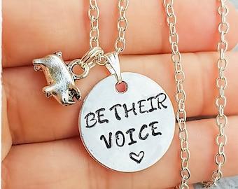 Vegan necklace, Be their voice pig Necklace, Vegan Gifts, Vegan, Vegan Accessories, Animal Rights, Cruelty Free, Vegan Jewellery, jewelry