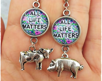 Vegan Earrings (LAST ONE AVAILABLE) cow pig Vegan Jewellery Vegan jewelry Gift Vegan message spread the word Veganism Vegetarian Veg