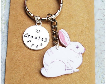 Easter Bunny, Easter Rabbit, Vegan Keychain, Cruelty free, Vegan Rabbit, Rabbit keychain, Gift for vegan, Vegan Accesories, Vegan Jewelry