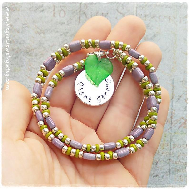 Plant Strong Vegan gift Vegan Bracelet Plant Based gift Veggie Vegan Jewellery Vegetarian Wrap Bracelet Herbivore Vegan Jewelry