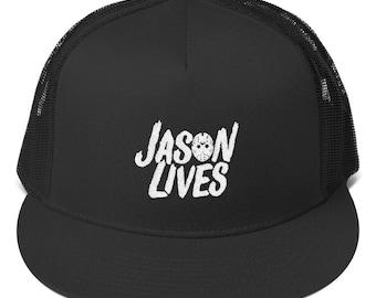 Jason Lives Hockey Mask Trucker Cap ab983151d78