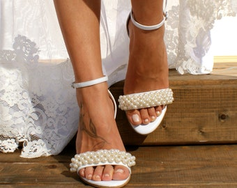 Block heel wedding white leather sandals  Handmade white leather heels  Bridal  shoes  Pearl wedding shoes  White bridal heels VALENTINA