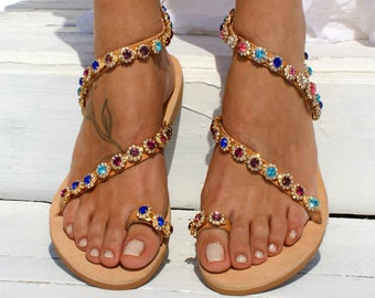 74e7622a4b491 Handmade to order jeweled leather sandals  Luxury sandals  Embellished shoes   Colorful sandals  Wedding shoes  Bridal sandals  KARISMA