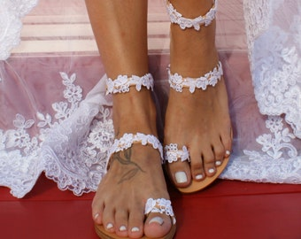 Handmade to order lace sandals bridal sandal wedding