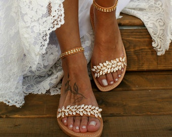 76410a380fc530 Wedding sandals  bridal sandals  leather sandals  Rhinestone-embellished  shoes  gold sandals  beach wedding sandals