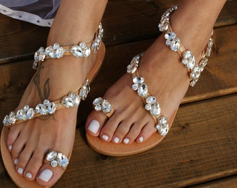 cb5a939e2232 Wedding sandals  bridal sandals  flat leather sandals  handmade sandals   silver crystal sandals  beach wedding shoes