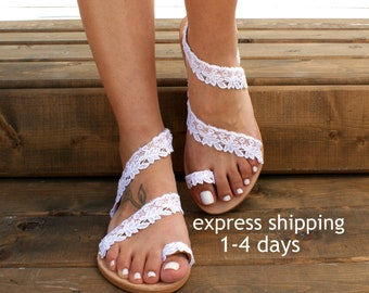 46af93d7a Handmade to order white lace sandals  bridal sandals  wedding shoes  white  lace wedding flats  beach sandals