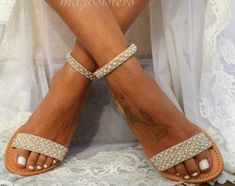 Wedding sandals/ bridal sandals/ leather sandals/ handmade sandals/ pearl sandals/ beach wedding sandals/ wedding shoes/ PRIMA 1