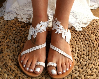 1aca47dae Handmade to order  lace sandals  bridal sandal  wedding shoes  off white  wedding sandals  flat lace sandals  beach sandals