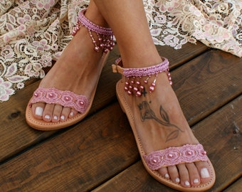 16beff7bd641ab Wedding sandals  bridal sandals  leather sandals  dusty pink lace handmade  sandals  pearl sandals  beach wedding sandals