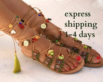 ca9ffd3509d640 Tie up gladiator sandals  Boho sandals  Leather sandals  ethnic sandals   Decorated flats  Greek sandals  spartan sandals