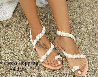 Bridal sandals etsy handmade to order romantic sandals bridal sandals flower sandals wedding sandals off white sandals beach sandals romance mightylinksfo