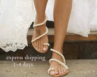 d75dce17aaa0b Wedding sandals  bridal sandals  leather sandals  handmade sandals  pearl  sandals  beach wedding sandals  wedding shoes