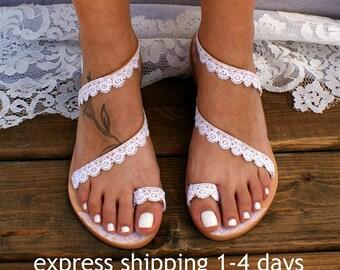 02c120db28746 Handmade to order white lace wedding sandals  bridal shoes  wedding shoes  wedding  sandals  white lace sandals  beach sandals