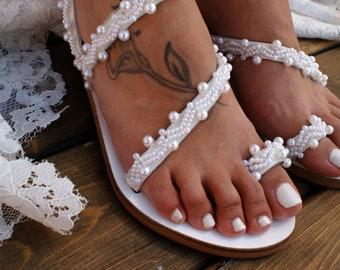493895181929 Wedding sandals  bridal shoes  leather sandals  handmade sandals  white  pearl wedding sandals  beach sandals  wedding shoes