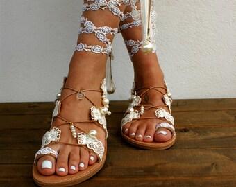1c72e9809c4d Wedding sandals  boho sandals  bridal sandals  wedding shoes  handmade  leather sandals  Ivory sandals  beach sandals