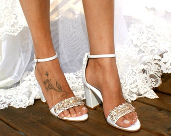 1c470ff8919bd Block heel white leather wedding sandals  Handmade white leather heels   Bridal heels  Rhinestone-embellished wedding shoes  VENETIAN
